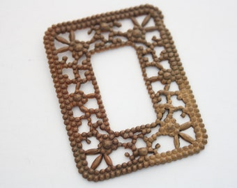Vintage raw brass patina filigree goth