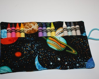 Crayon Roll Space Planets Solar System Print Fabric Crayon Rollup, Crayon Roll holds 12 to 15 Crayons