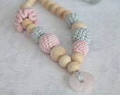 Pale pink and grey crochet necklace with natural pink quartz.  Nursing teething necklace, ready to ship