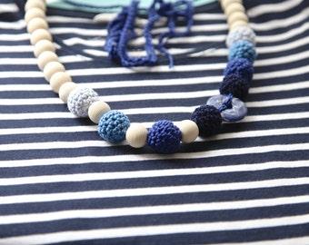 Nautical blue light blue, dark marine crochet necklace with natural stone.