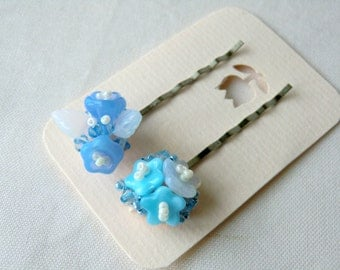 Cornflower Blue Bobby Pins Bead Embroidered Hair Pins Flower Bobby Pins Beaded Hair Clips Barrettes for Girls Glass Flower Bobby Pins