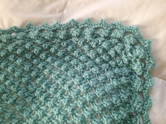 Hand Knit Baby Blanket in Popcorn stitch pattern with