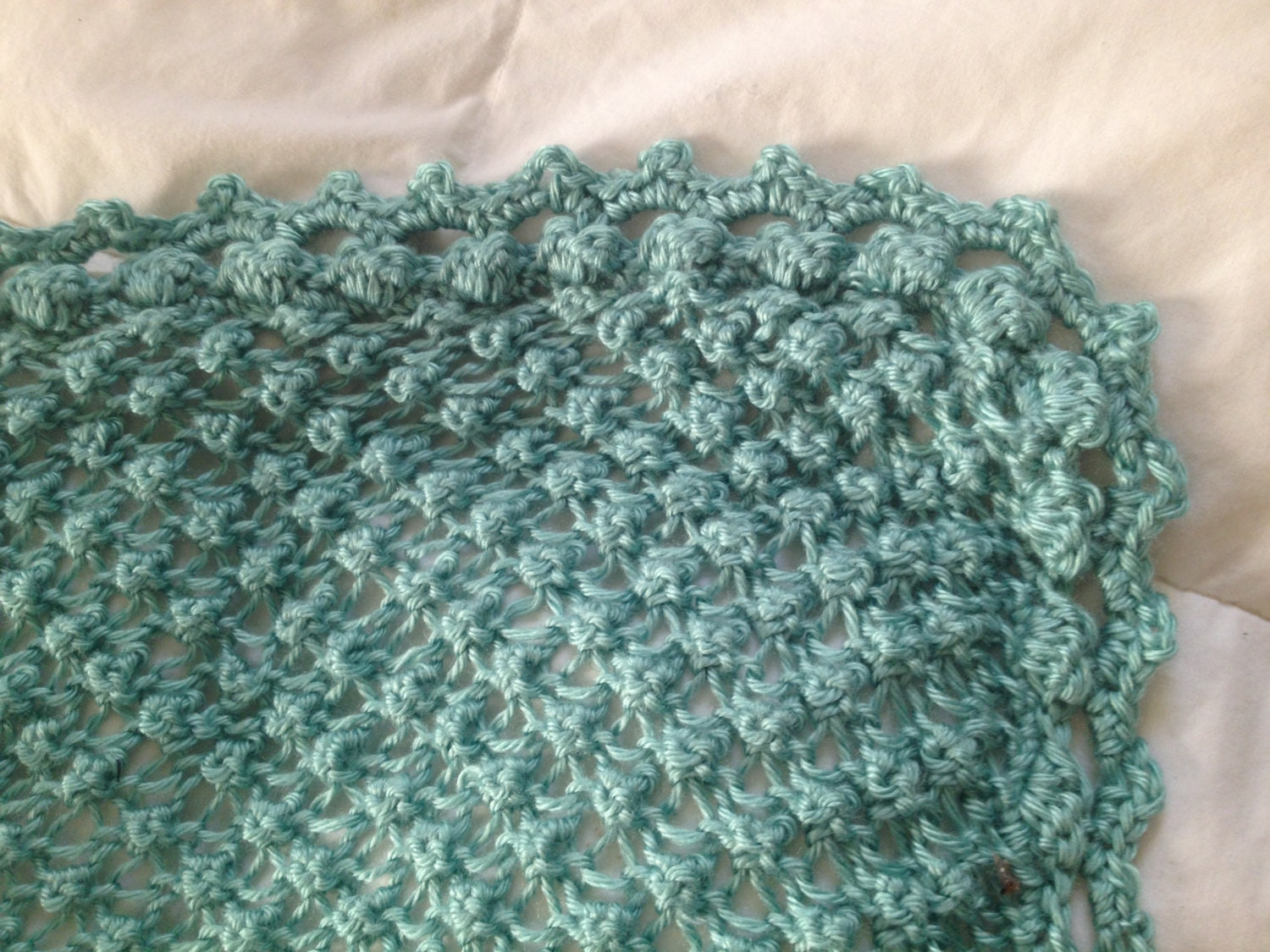 Baby Cot Blanket Knitting Pattern : Hand Knit Baby Blanket in Popcorn stitch pattern with