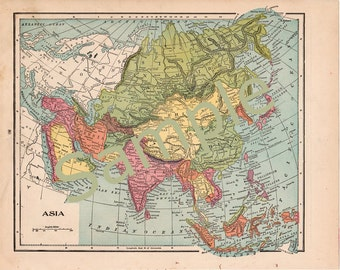 Antique Map of Asia Instant Digital Download 1900 Color Illustration Printable Map