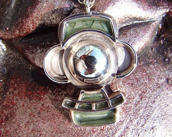PsiClops Pendant...OOAK Handmade Sterling Silver and Polyester Casting Resin Talisman of Legend