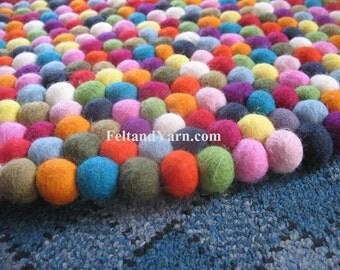 Multicoloured Felt ball rug 140 cm, Handmade felt ball rugs, large felt ball rugs, nursery rugs, round felt rugs