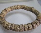 Men's Natural Salwag Palmwood Beaded Stretch Bracelet - Primitive - Natural - Simple - Waterproof - Latex Free