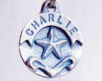 Dog Tag - Star - Pet Id Tag - Dog Tags - Dog Collar Tag - Hand Stamped Pewter
