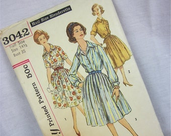 Vintage 60s Dress Sewing Pattern, Simplicity, 3042