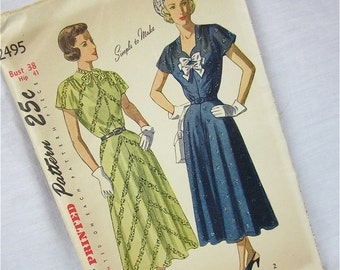 Vintage 40s Dress Sewing Pattern, Simplicity 2495