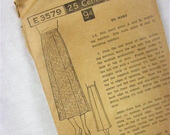 Vintage 20s Skirt Sewing Pattern, Excella, E3579