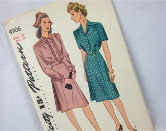 Vintage 40s Dress Sewing Pattern, Simplicity, 4906