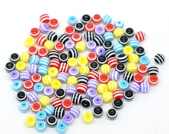 6mm mixed color striped beads - 6mm resin beads - 6mm coloful beads - 6mm round beads (886) - Flat rate shipping