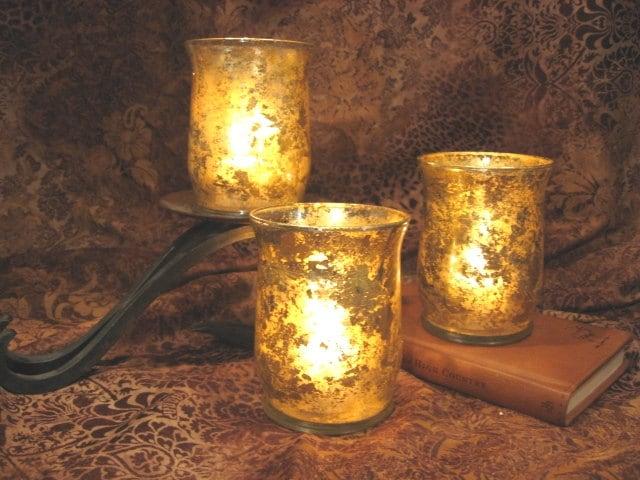 Mercury Glass Candle Wall Sconces : Gold Mercury Glass Votive Candle Holders Set
