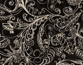 "1 yard 108"" Quiltbacking, Complementary by South Sea Imports, Black Floral Fabric, 01308"