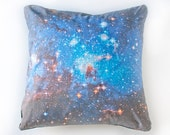 Blue Galaxy Nebula Print Accent Pillow Cover Space Throw Pillow 18x18