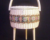 RESERVED for Heather Lettieri - SALE! Mid Century Singer Sewing Basket on Legs
