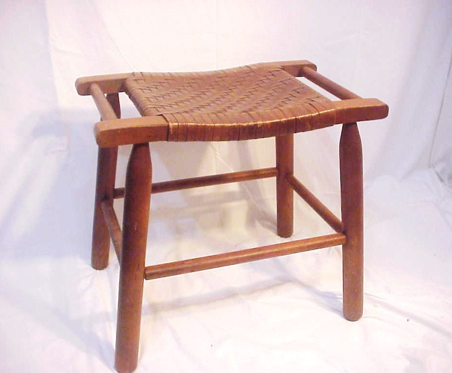 Wegner Era Mid Century Danish Bench Stool Woven Seat Mc