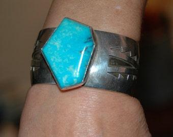Sweet Vintage Navajo Sleeping Beauty Turquoise & Sterling Bracelet - Hallmarked