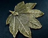 5pcs 42x47mm vintage bronze alloy metal simulated autumn maple leaf DIY pendant charm 1810096