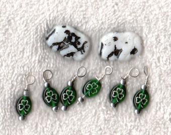Czech Seed Beads Elephant Czech Glass - White / Black 6 4 leaf clover charms