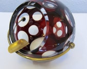 Vintage Art Deco Ruby Orb Ashtray Coin Dot Cut to Clear Bohemian Glass