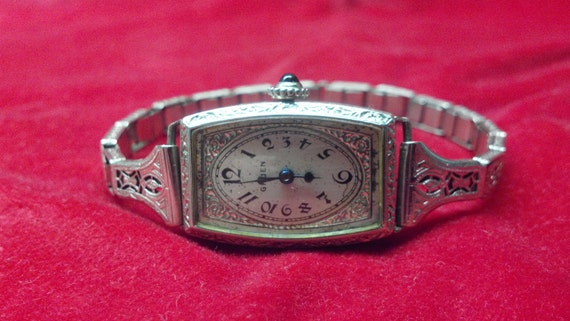 RESERVED for Josephine Art Deco Gruen Guild 14K GF Ladies watch and Filigree stretchband works Just Serviced Look and Shop Now