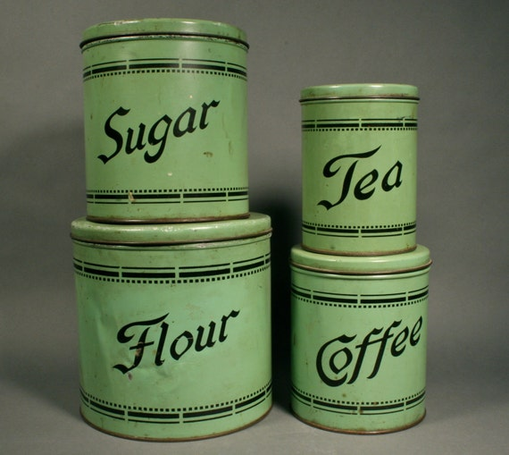 green canister set from a 1930s kitchen by aunthattiesattic pinterest the world s catalog of ideas