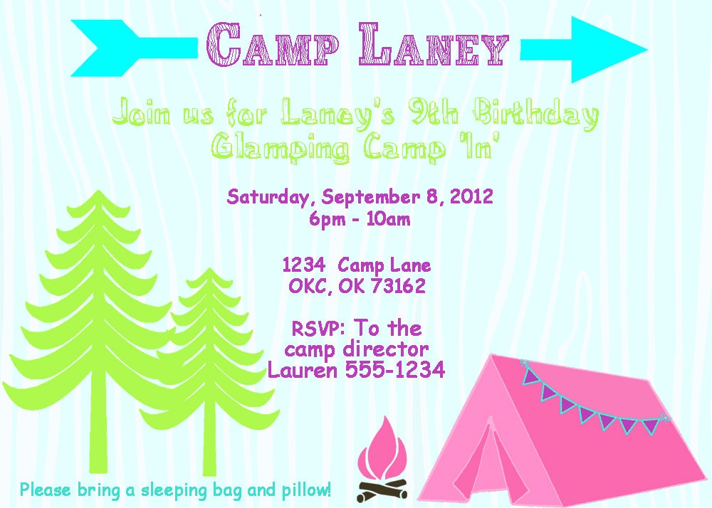 glam camping invitation girls camping party printable, Party invitations