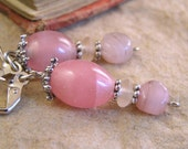Pink glass dangle earrings. Victorian style glass bead lever-back. Handmade jewelry