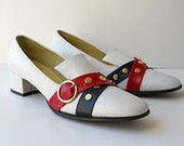 60s Mod Shoes John Sabatini Shoes Red White and Blue Size 8 AA Never Worn with Box Nautical Shoes