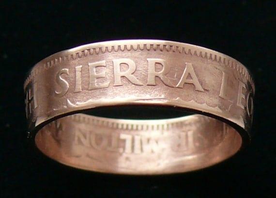 Bronze Coin Ring 1964 Sierra Leone 1/2 Cent - Ring Size 6 1/2 and Double Sided