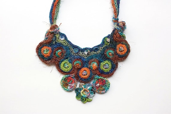 Statement bib necklace, knitted with bamboo and textile beads, multicolor, OOAK