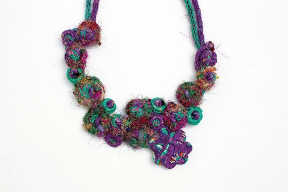 Handmade knitted necklace with bamboo and textile beads, purple emerald green, OOAK