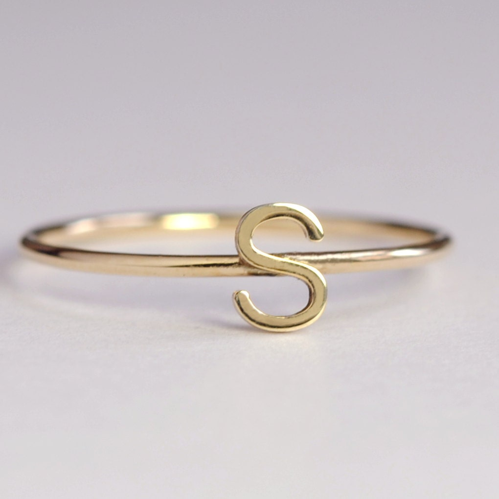 solid 14k yellow gold initial letter ring personalized