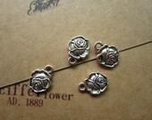 50pcs 13x10mm antique silver flower charms pendant R26993