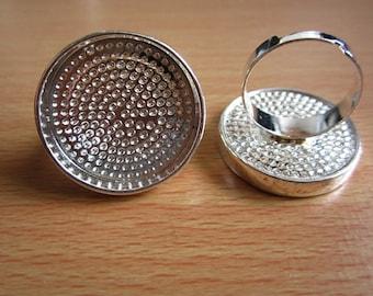 5pcs 25mm pad silver ring base,diameter 17mm adjustable C2047