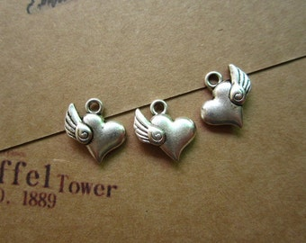 50pcs 15x14mm antique silver love heart wing flyer charms pendant R26460