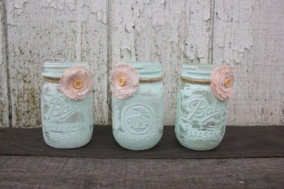 Trio Of Super Sweet Shabby Chic Mason Jar Vases Painted