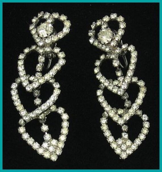 "Vintage HOBE Earrings Rhinestone Dangling Hearts Designer Wedding High End 2 1/4"" VG"