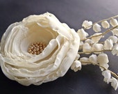 OOAK - Rustic Ivory Bridal Hair Piece - Bridal Hair Flower Wedding Accessories Cream Beige Chiffon Lace Vintage Garden Wedding