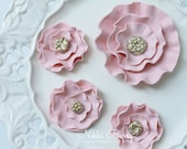 Pink Fondant Flower Brooch Cake & Cupcake Topper Set
