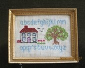 112th Crossstitch Sampler in Gold Frame for the Dolls House