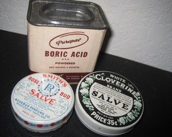 Collection of 3 Vintage Medical Advertising Tins