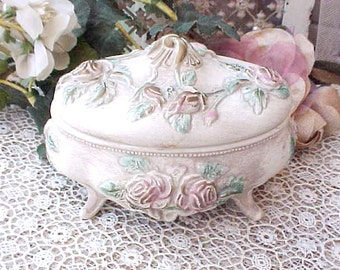 Charming Vintage Ceramic Trinket Box with Pink Roses