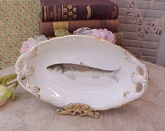 Beautiful Antique Porcelain Serving Dish with Hand Painted Fish Design