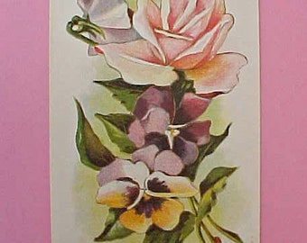 Pretty Edwardian Era Postcard with Rose, Sweetpeas and Pansies