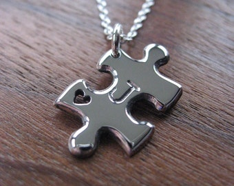 Small Puzzle Piece with Heart and Initial Silver Pendant Necklace