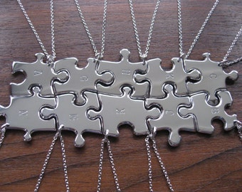 Ten Initial Stamped Silver Pendants Necklaces