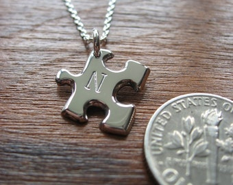 Miniature Puzzle Piece with Initial Silver Pendant Necklace